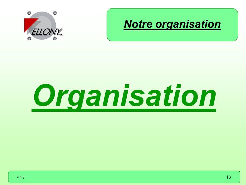 V 1.7 13 Organisation Notre organisation