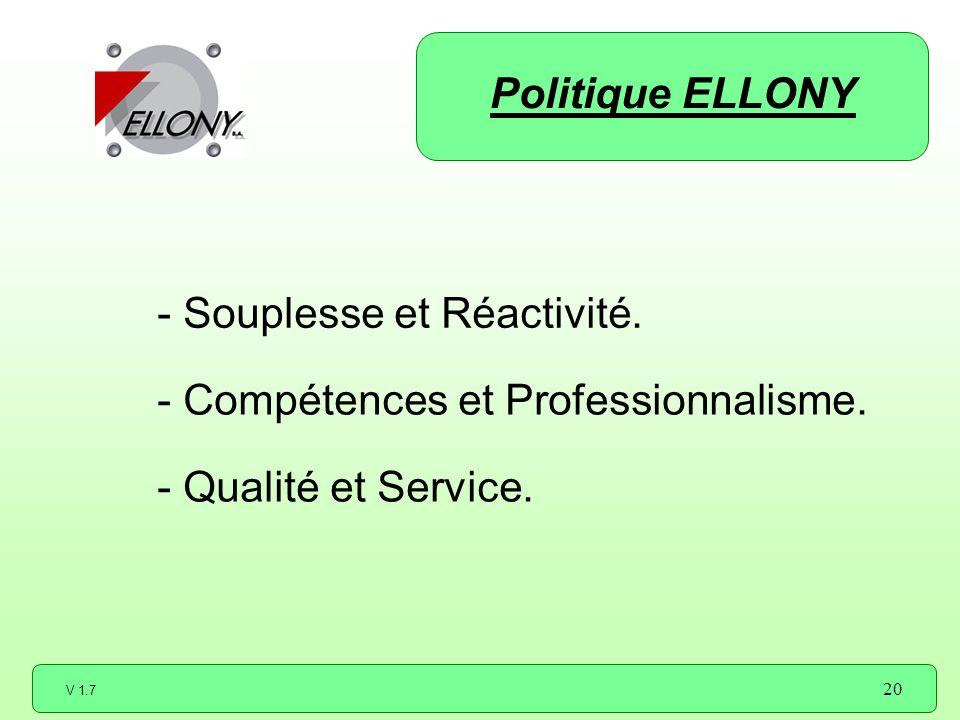 V 1.7 20 - Souplesse et Réactivité. - Compétences et Professionnalisme. - Qualité et Service. Politique ELLONY