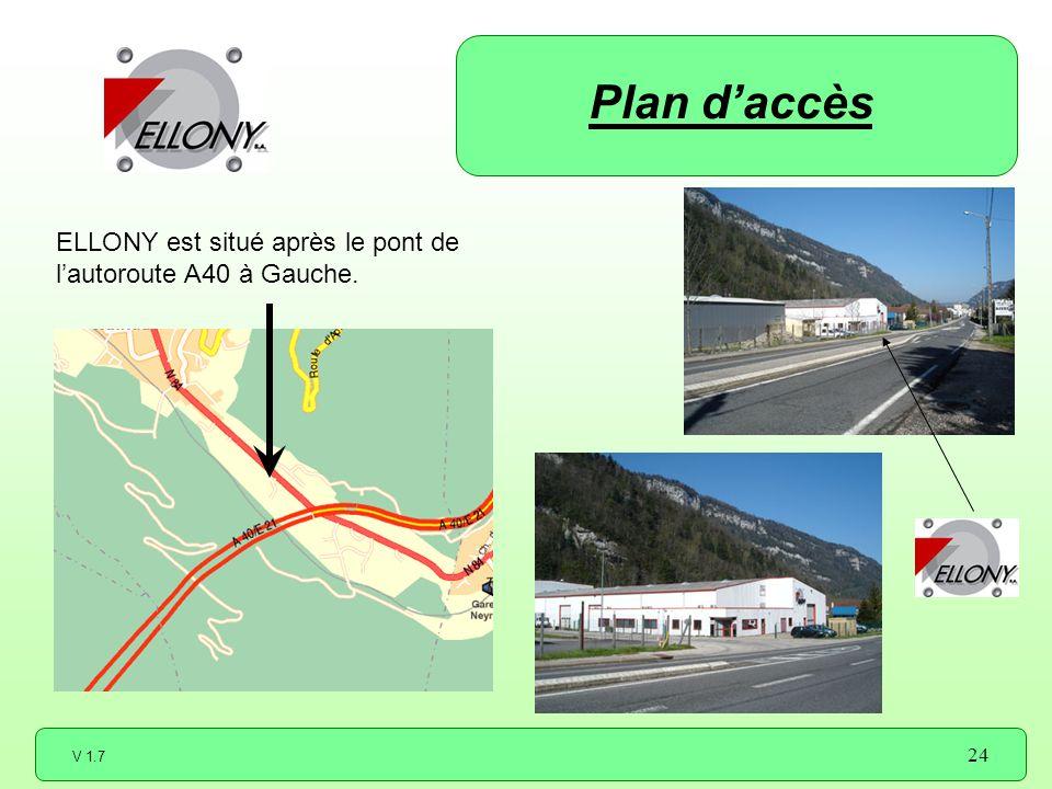 V 1.7 24 ELLONY est situé après le pont de lautoroute A40 à Gauche. Plan daccès