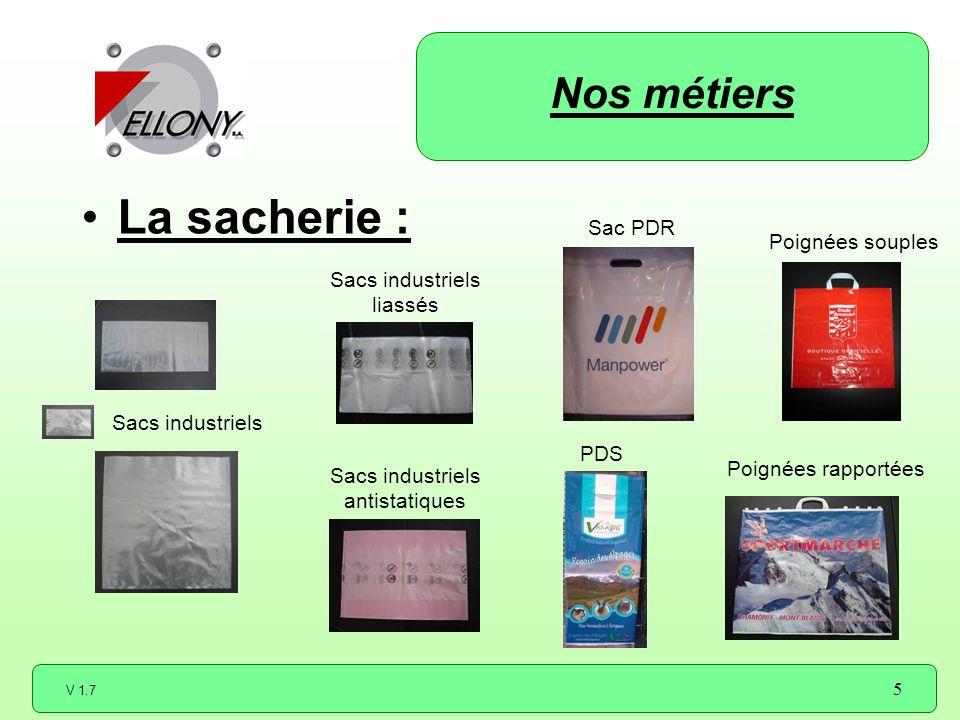 V 1.7 5 La sacherie : Poignées souples Poignées rapportées Sacs industriels liassés Sacs industriels antistatiques Nos métiers Sac PDR PDS