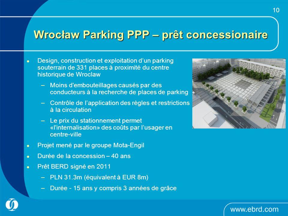 10 Wrocław Parking PPP – prêt concessionaire Design, construction et exploitation dun parking souterrain de 331 places à proximité du centre historiqu