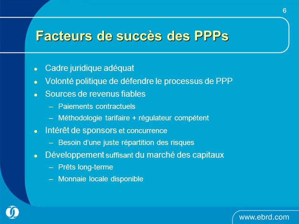 6 Facteurs de succès des PPPs Cadre juridique adéquat Volonté politique de défendre le processus de PPP Sources de revenus fiables –Paiements contract