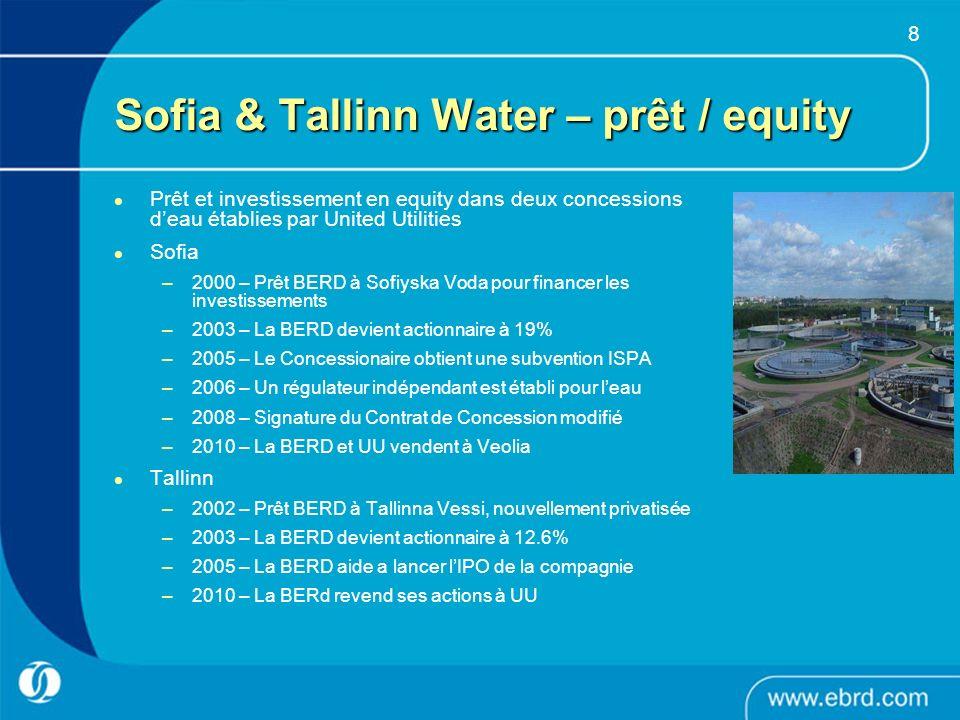 8 Sofia & Tallinn Water – prêt / equity Prêt et investissement en equity dans deux concessions deau établies par United Utilities Sofia –2000 – Prêt B