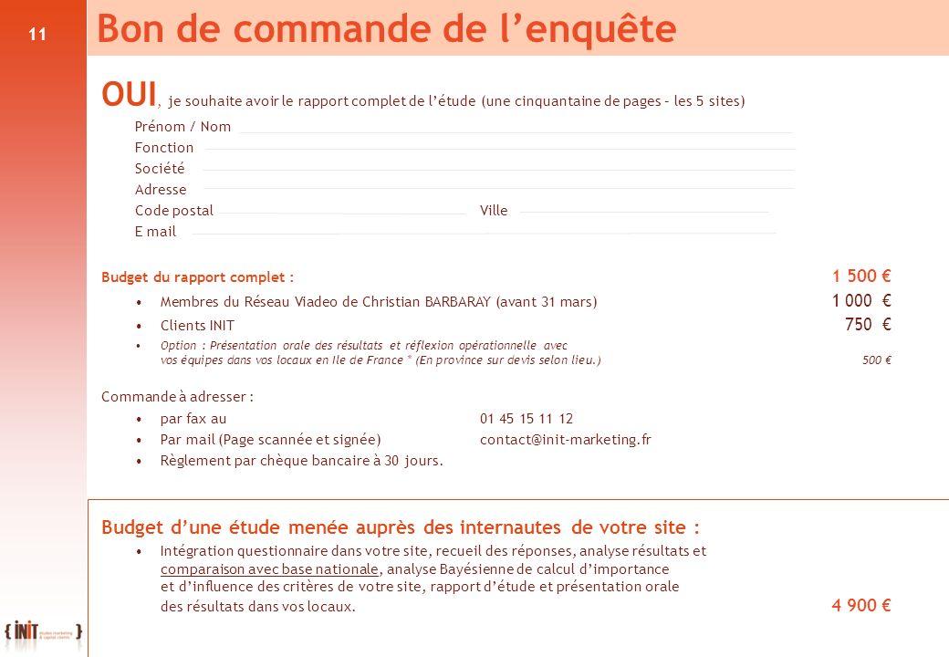11 OUI, je souhaite avoir le rapport complet de létude (une cinquantaine de pages – les 5 sites) Prénom / Nom. Fonction. Société. Adresse Code postalV