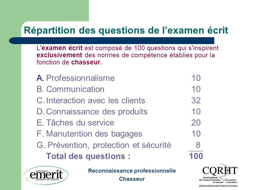 Reconnaissance professionnelle Chasseur Répartition des questions de lexamen écrit L'examen écrit est composé de 100 questions qui s'inspirent exclusi