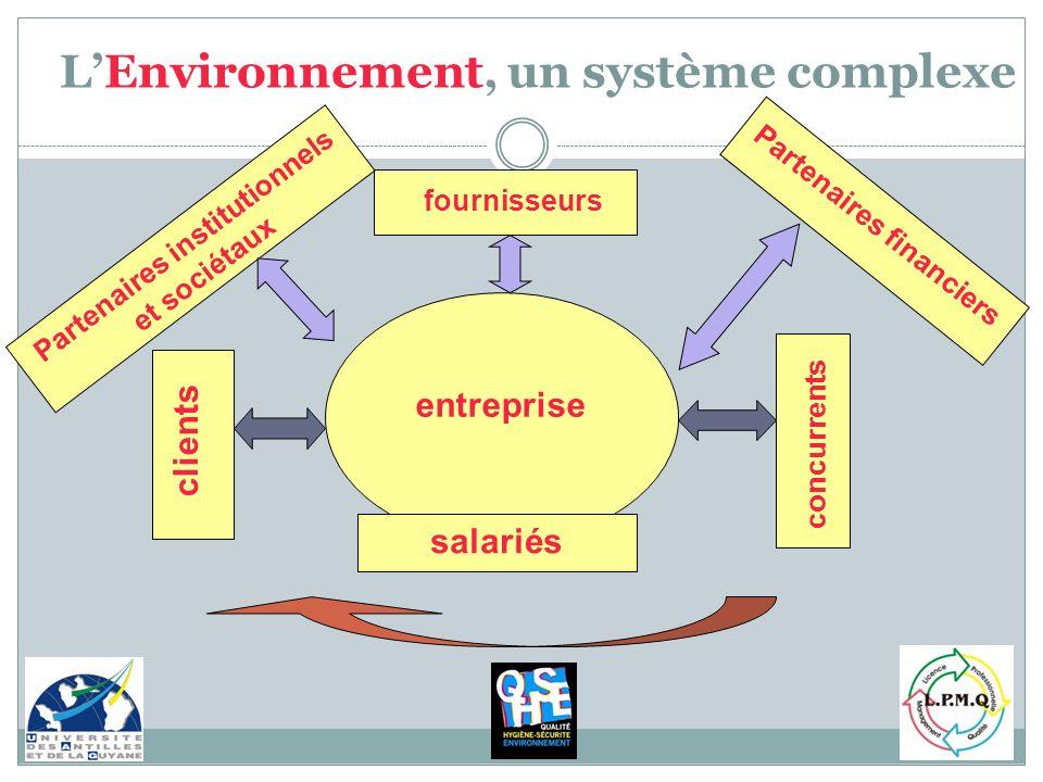 entreprise fournisseurs clients salariés concurrents Partenaires financiers Partenaires institutionnels et sociétaux LEnvironnement, un système comple