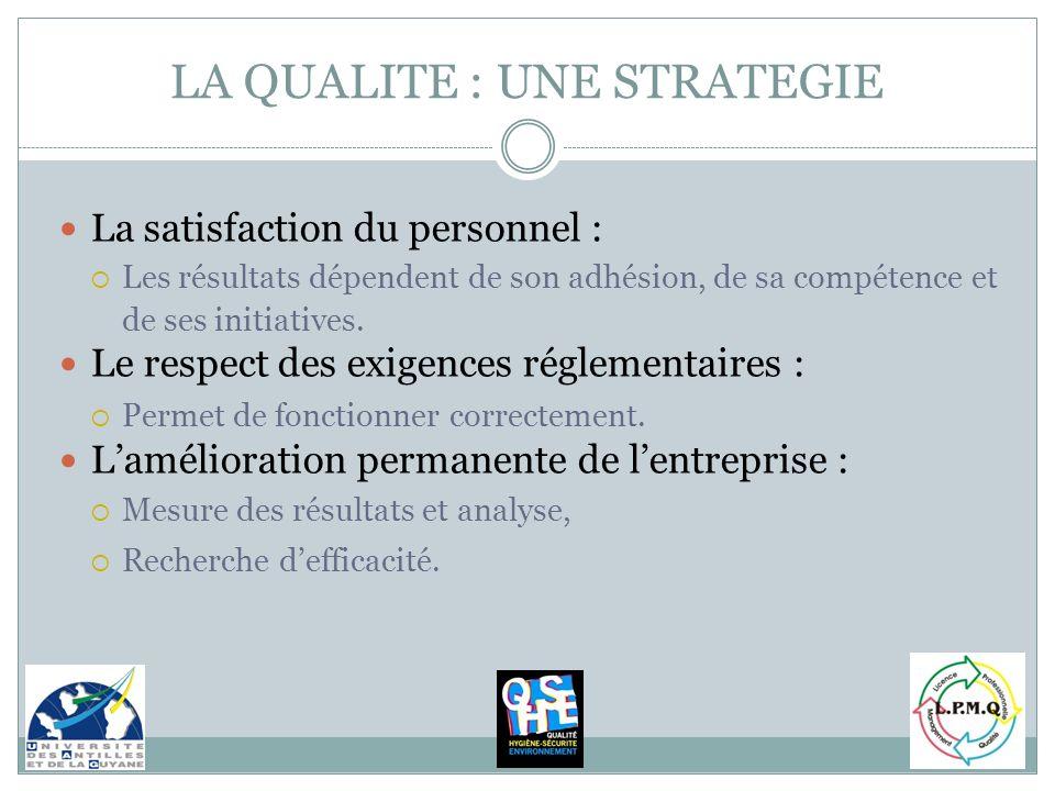 La satisfaction du personnel : Les résultats dépendent de son adhésion, de sa compétence et de ses initiatives. Le respect des exigences réglementaire