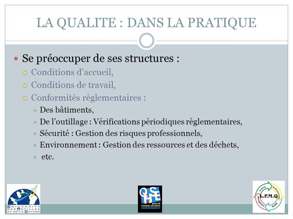 Se préoccuper de ses structures : Conditions daccueil, Conditions de travail, Conformités règlementaires : Des bâtiments, De loutillage : Vérification
