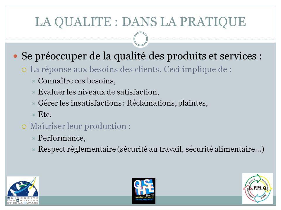 LA QUALITE : DANS LA PRATIQUE Se préoccuper de la qualité des produits et services : La réponse aux besoins des clients. Ceci implique de : Connaître