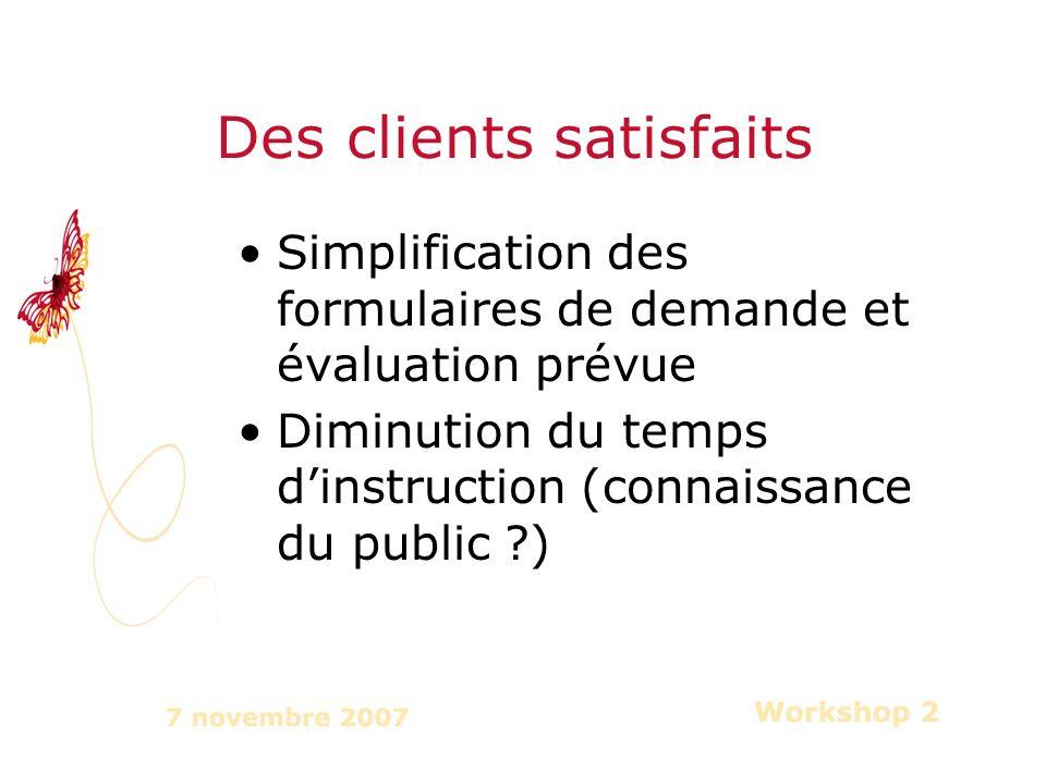Simplification des formulaires de demande et évaluation prévue Diminution du temps dinstruction (connaissance du public ) Des clients satisfaits