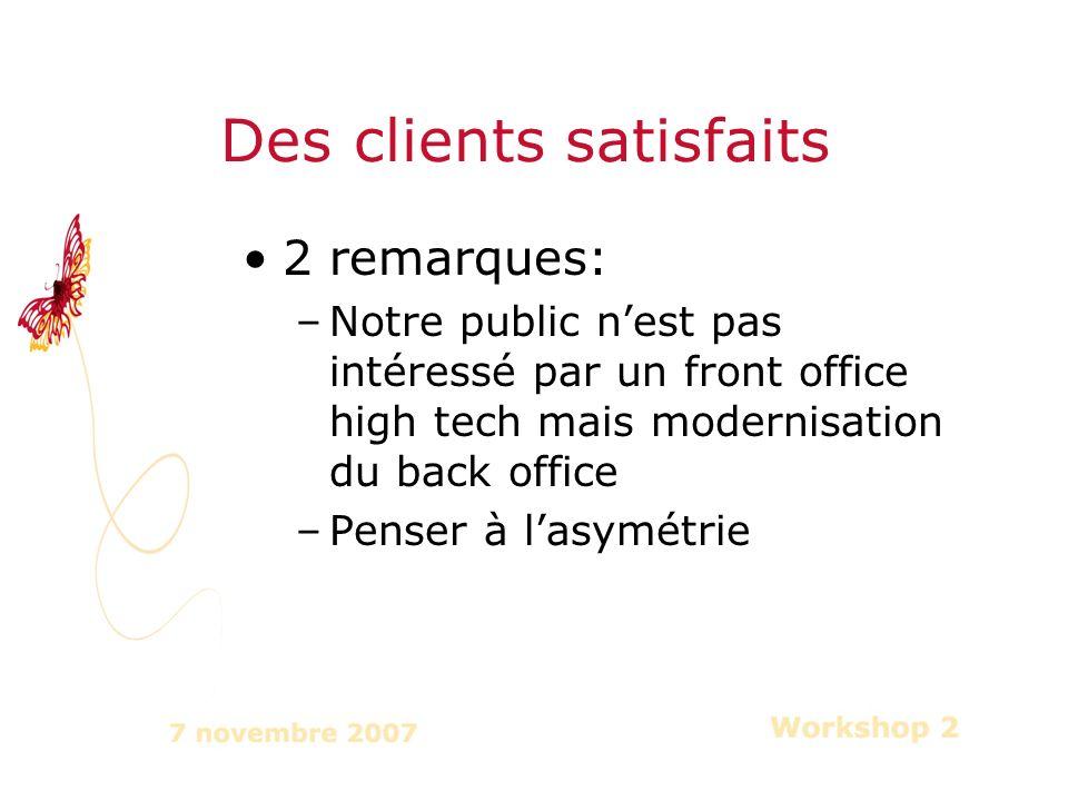 2 remarques: –Notre public nest pas intéressé par un front office high tech mais modernisation du back office –Penser à lasymétrie Des clients satisfaits