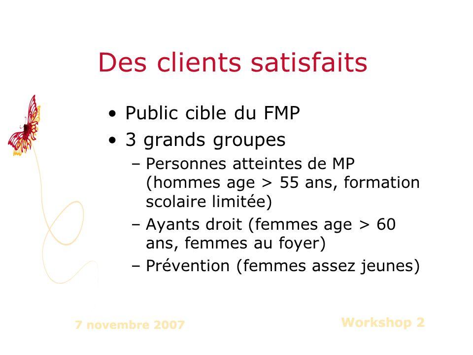 Public cible du FMP 3 grands groupes –Personnes atteintes de MP (hommes age > 55 ans, formation scolaire limitée) –Ayants droit (femmes age > 60 ans, femmes au foyer) –Prévention (femmes assez jeunes) Des clients satisfaits