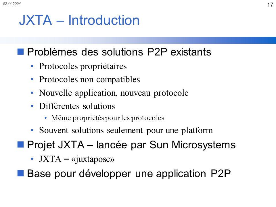 02.11.2004 17 JXTA – Introduction nProblèmes des solutions P2P existants Protocoles propriétaires Protocoles non compatibles Nouvelle application, nou