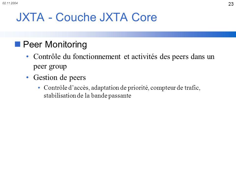 02.11.2004 23 JXTA - Couche JXTA Core nPeer Monitoring Contrôle du fonctionnement et activités des peers dans un peer group Gestion de peers Contrôle