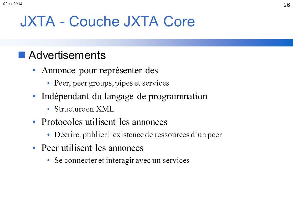 02.11.2004 26 JXTA - Couche JXTA Core nAdvertisements Annonce pour représenter des Peer, peer groups, pipes et services Indépendant du langage de prog