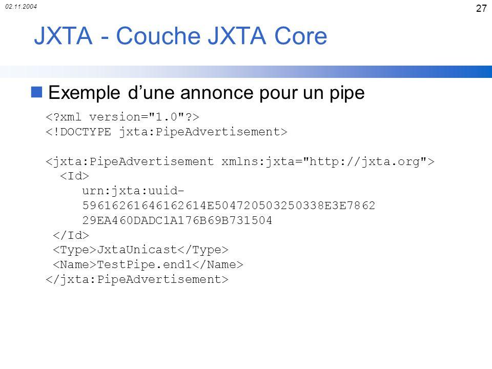 02.11.2004 27 JXTA - Couche JXTA Core nExemple dune annonce pour un pipe urn:jxta:uuid- 59616261646162614E504720503250338E3E7862 29EA460DADC1A176B69B7