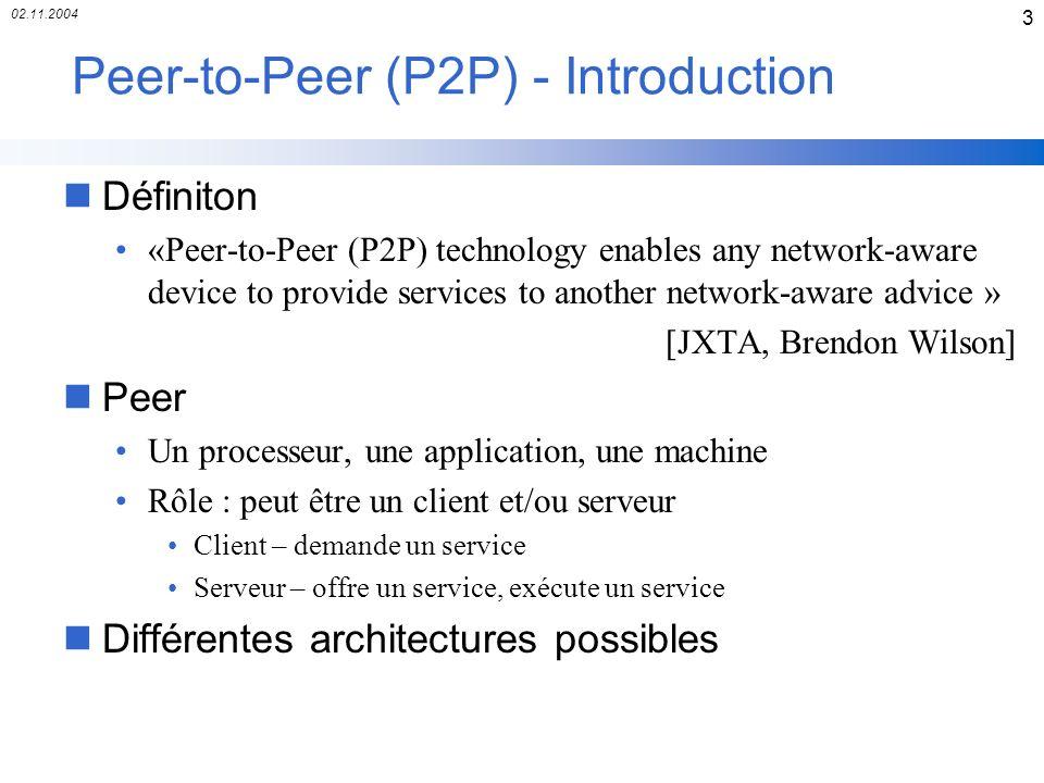 02.11.2004 24 JXTA - Couche JXTA Core nPeer Pipes Canaux de communication entre peers Asynchrone, unidirectionnel Envoie des messages en XML Un pipe lié un point terminal (endpoint) (exemple : TCP port with an IP) Source : Projext JXTA v2.0 : Java Programmers Guide, Sun Microsystems