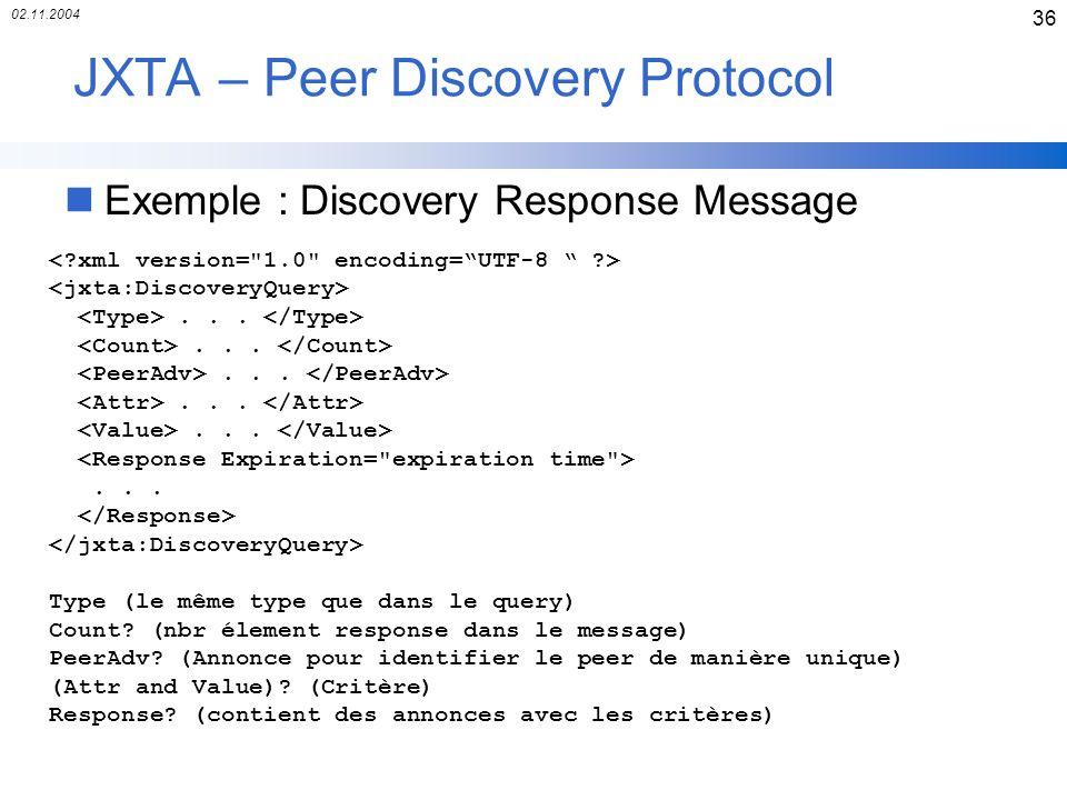 02.11.2004 36 JXTA – Peer Discovery Protocol nExemple : Discovery Response Message...... Type (le même type que dans le query) Count? (nbr élement res