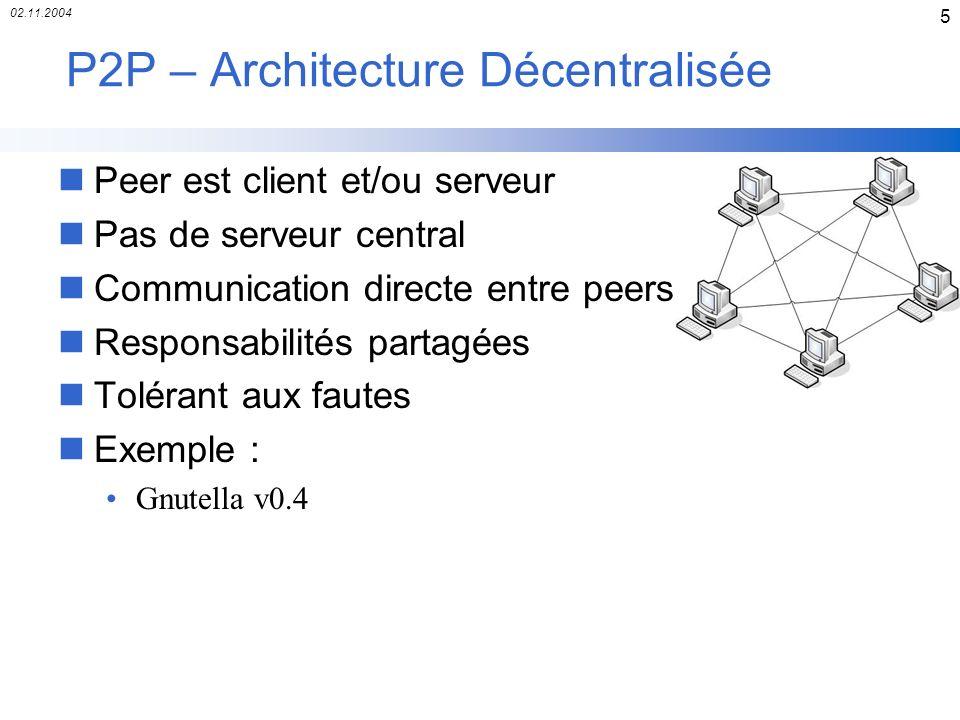 02.11.2004 5 P2P – Architecture Décentralisée nPeer est client et/ou serveur nPas de serveur central nCommunication directe entre peers nResponsabilit