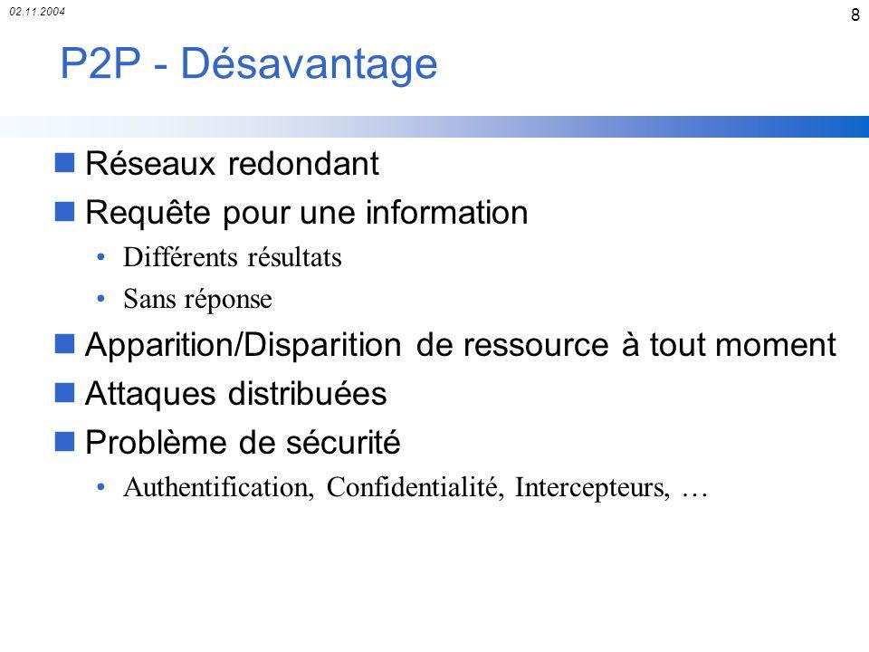 02.11.2004 8 P2P - Désavantage nRéseaux redondant nRequête pour une information Différents résultats Sans réponse nApparition/Disparition de ressource