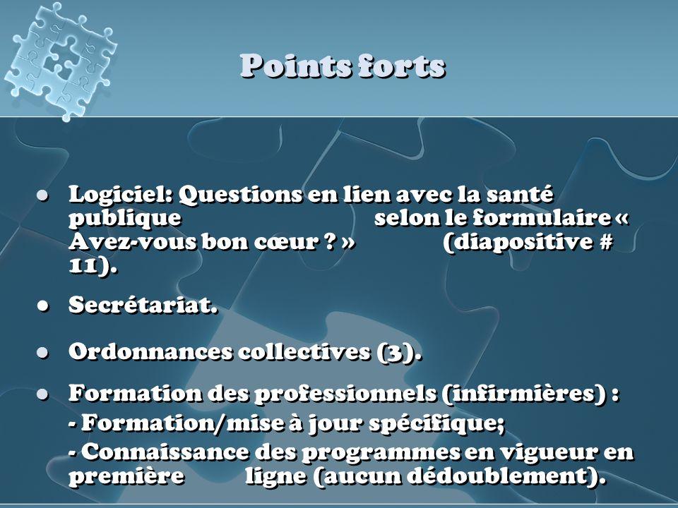 Points forts Logiciel: Questions en lien avec la santé publique selon le formulaire « Avez-vous bon cœur ? » (diapositive # 11). Secrétariat. Ordonnan