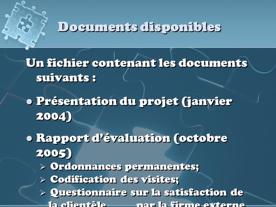 Documents disponibles Un fichier contenant les documents suivants : Présentation du projet (janvier 2004) Rapport dévaluation (octobre 2005) Ordonnanc