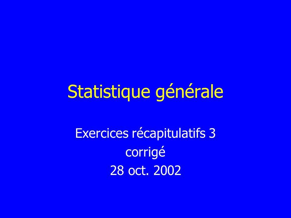 Statistique générale Exercices récapitulatifs 3 corrigé 28 oct. 2002