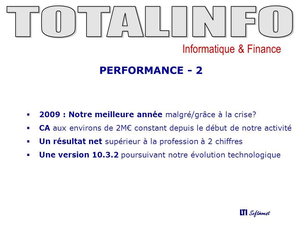 Informatique & Finance LTI Softinvest PERFORMANCE - 2 2009 : Notre meilleure année malgré/grâce à la crise.