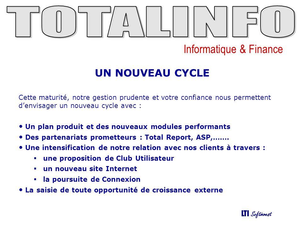 Informatique & Finance LTI Softinvest UN NOUVEAU CYCLE Cette maturité, notre gestion prudente et votre confiance nous permettent denvisager un nouveau cycle avec : Un plan produit et des nouveaux modules performants Des partenariats prometteurs : Total Report, ASP,…….