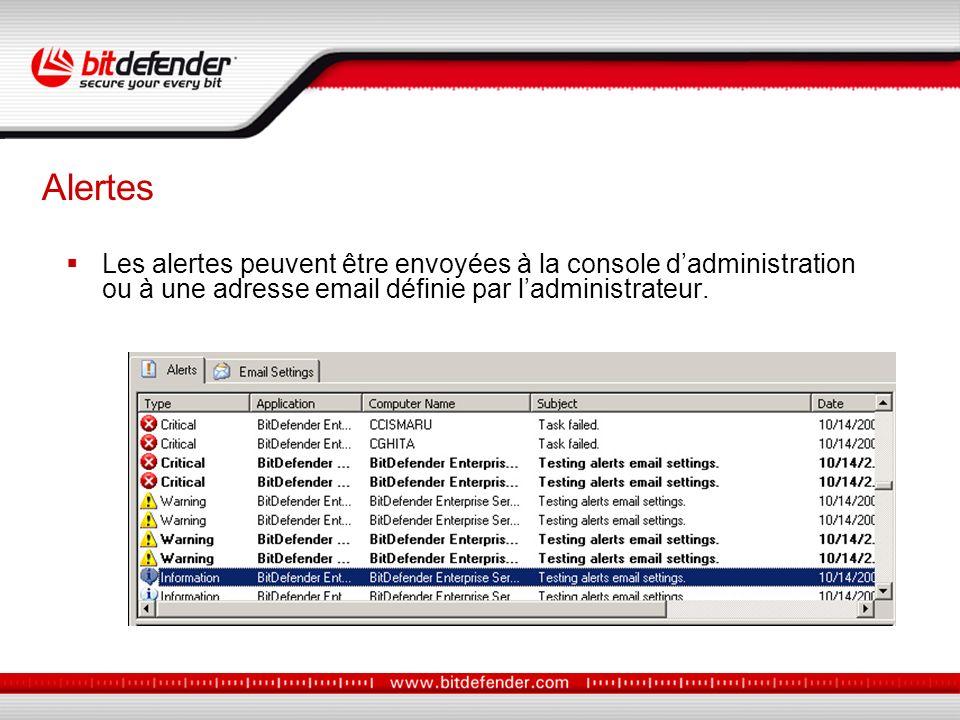 Les alertes peuvent être envoyées à la console dadministration ou à une adresse email définie par ladministrateur.