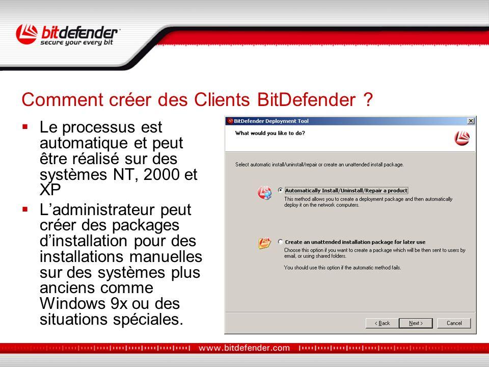 Le processus est automatique et peut être réalisé sur des systèmes NT, 2000 et XP Ladministrateur peut créer des packages dinstallation pour des installations manuelles sur des systèmes plus anciens comme Windows 9x ou des situations spéciales.