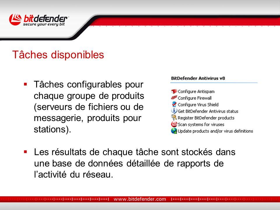 Tâches configurables pour chaque groupe de produits (serveurs de fichiers ou de messagerie, produits pour stations).