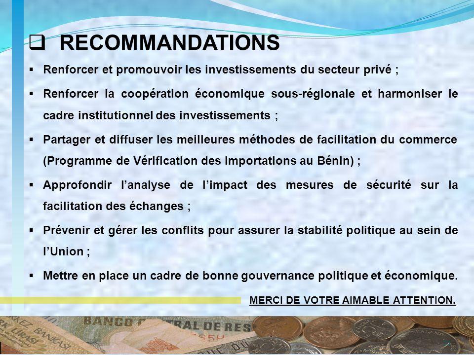 Renforcer et promouvoir les investissements du secteur privé ; Renforcer la coopération économique sous-régionale et harmoniser le cadre institutionne