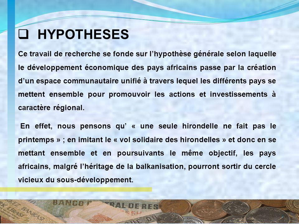 HYPOTHESES Ce travail de recherche se fonde sur lhypothèse générale selon laquelle le développement économique des pays africains passe par la créatio