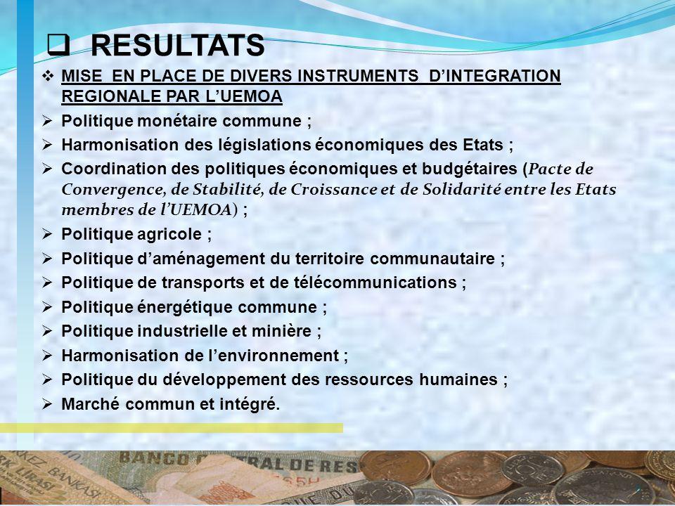 7 Une enquête a été menée dans le cadre de lélaboration du Plan stratégique 2011 – 2020 de la Commission de lUEMOA auprès du personnel de la Commission, des Etats membres, de la Société Civile et des Partenaires Techniques et Financiers sur la perception de la performance des politiques sectorielles de la Commission.