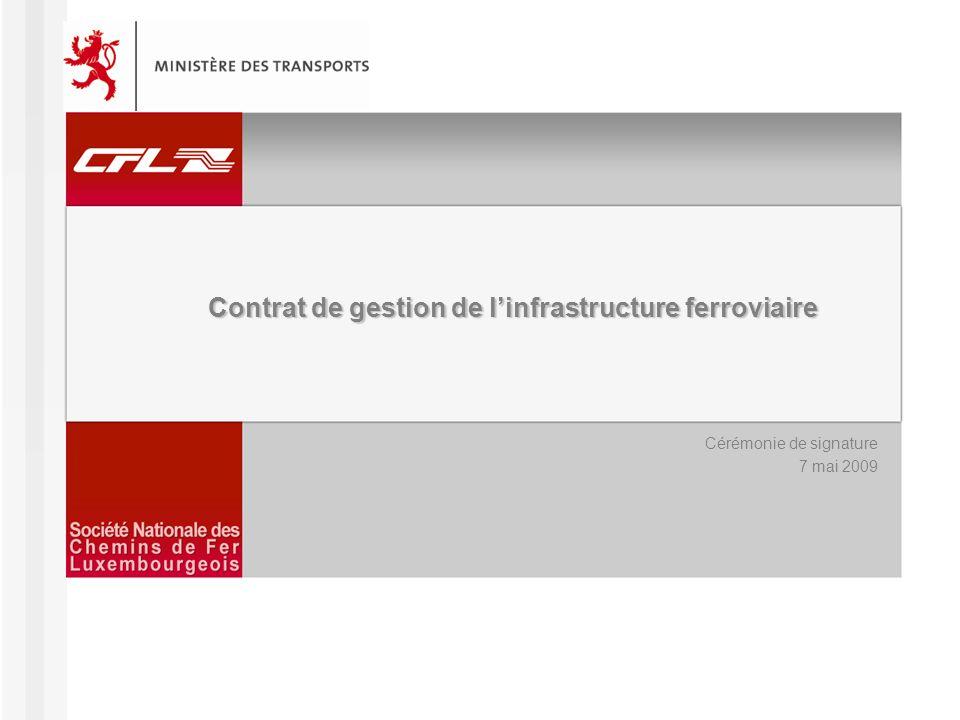 Contrat de gestion de linfrastructure ferroviaire – Cérémonie de signature 07/05/2009 2 Agenda I.