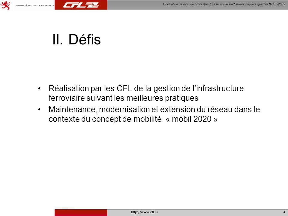 Contrat de gestion de linfrastructure ferroviaire – Cérémonie de signature 07/05/2009 http://www.cfl.lu4 II.