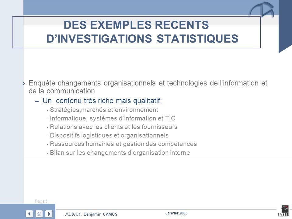 Page 5 Janvier 2006 Auteur : Benjamin CAMUS DES EXEMPLES RECENTS DINVESTIGATIONS STATISTIQUES Enquête changements organisationnels et technologies de