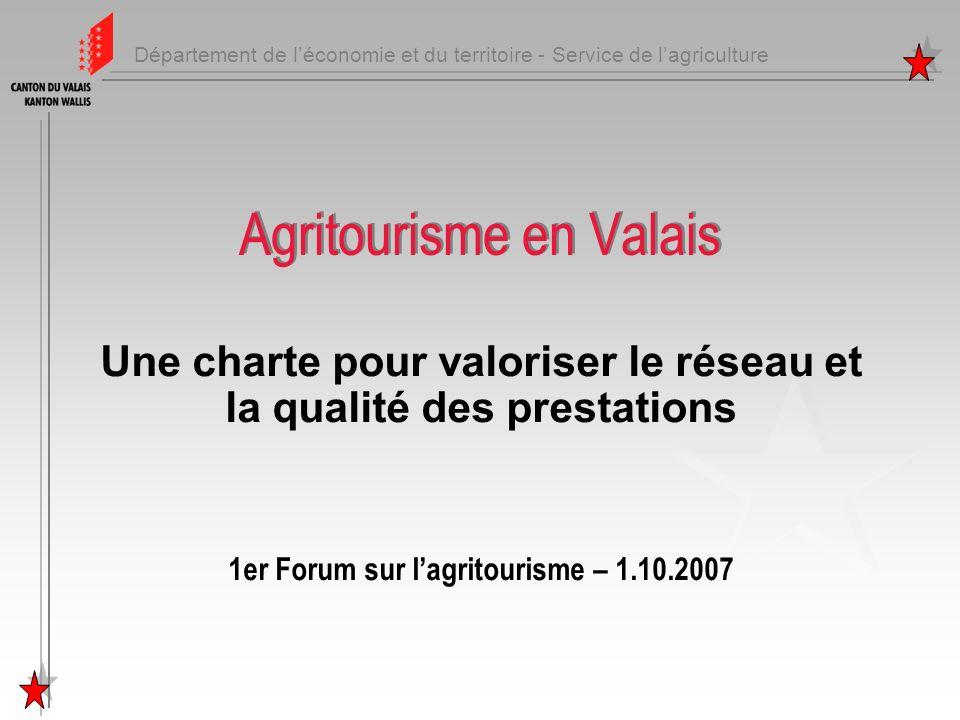 Département de léconomie et du territoire - Service de lagriculture Agritourisme en Valais Une charte pour valoriser le réseau et la qualité des prestations 1er Forum sur lagritourisme – 1.10.2007