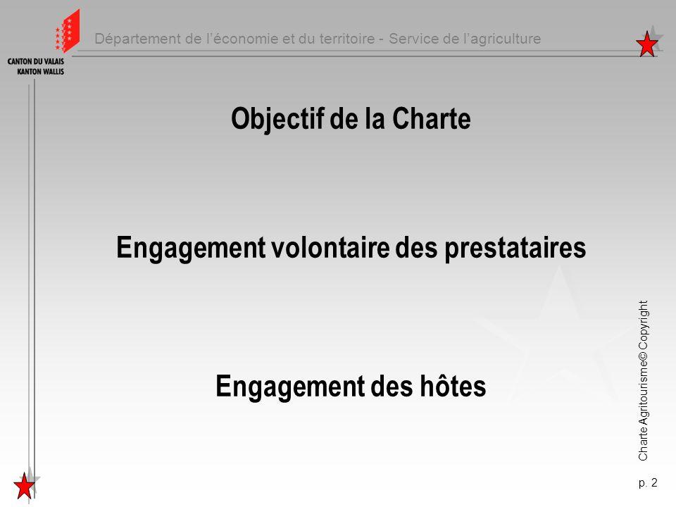 Département de léconomie et du territoire - Service de lagriculture Charte Agritourisme© Copyright p. 2 Objectif de la Charte Engagement volontaire de
