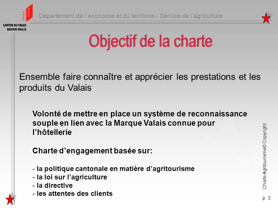 Département de léconomie et du territoire - Service de lagriculture Charte Agritourisme© Copyright p. 3 Objectif de la charte Ensemble faire connaître