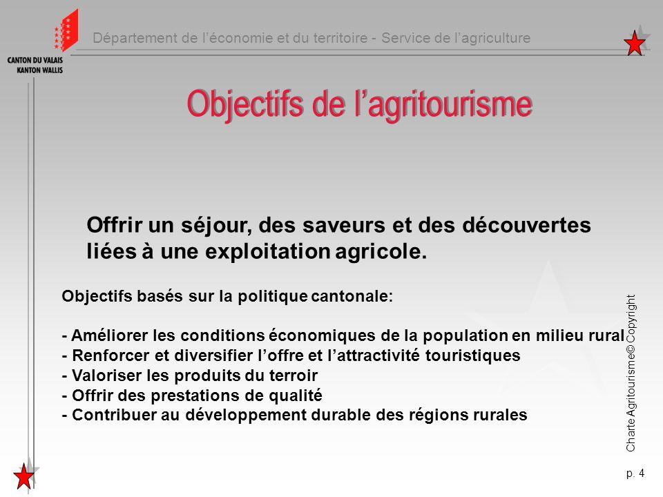 Département de léconomie et du territoire - Service de lagriculture Charte Agritourisme© Copyright p. 4 Objectifs de lagritourisme Offrir un séjour, d