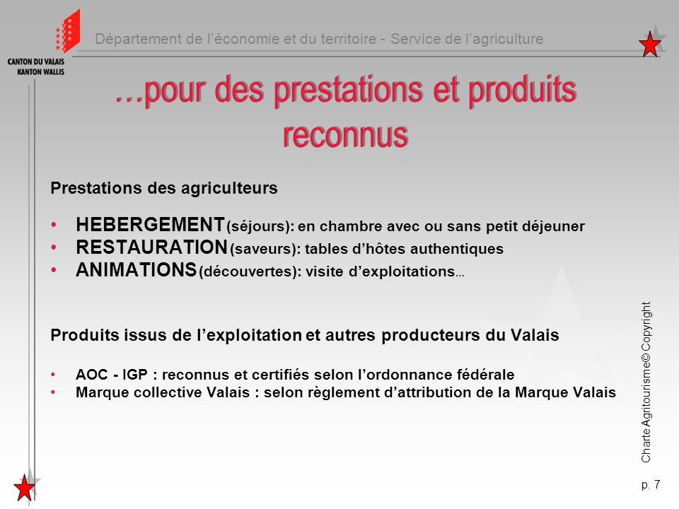 Département de léconomie et du territoire - Service de lagriculture Charte Agritourisme© Copyright p. 7 …pour des prestations et produits reconnus Pre