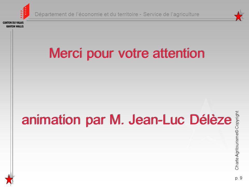 Département de léconomie et du territoire - Service de lagriculture Charte Agritourisme© Copyright p. 9 Merci pour votre attention animation par M. Je