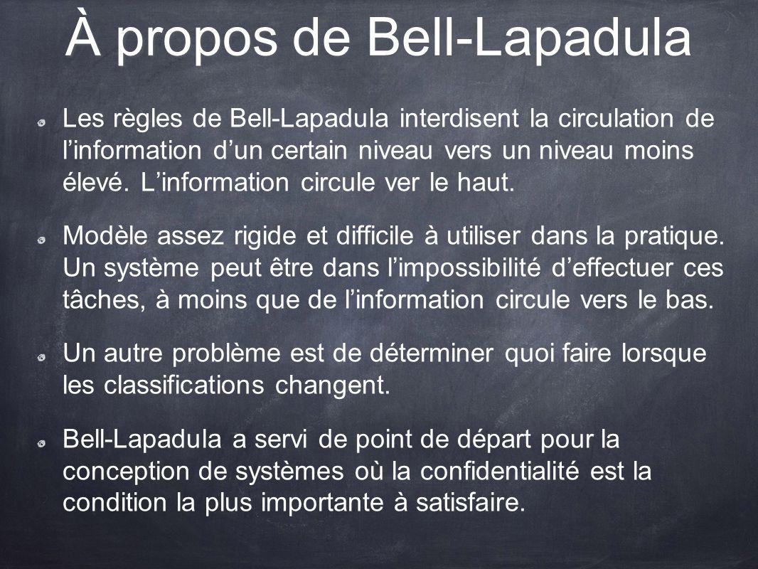 À propos de Bell-Lapadula Les règles de Bell-Lapadula interdisent la circulation de linformation dun certain niveau vers un niveau moins élevé. Linfor