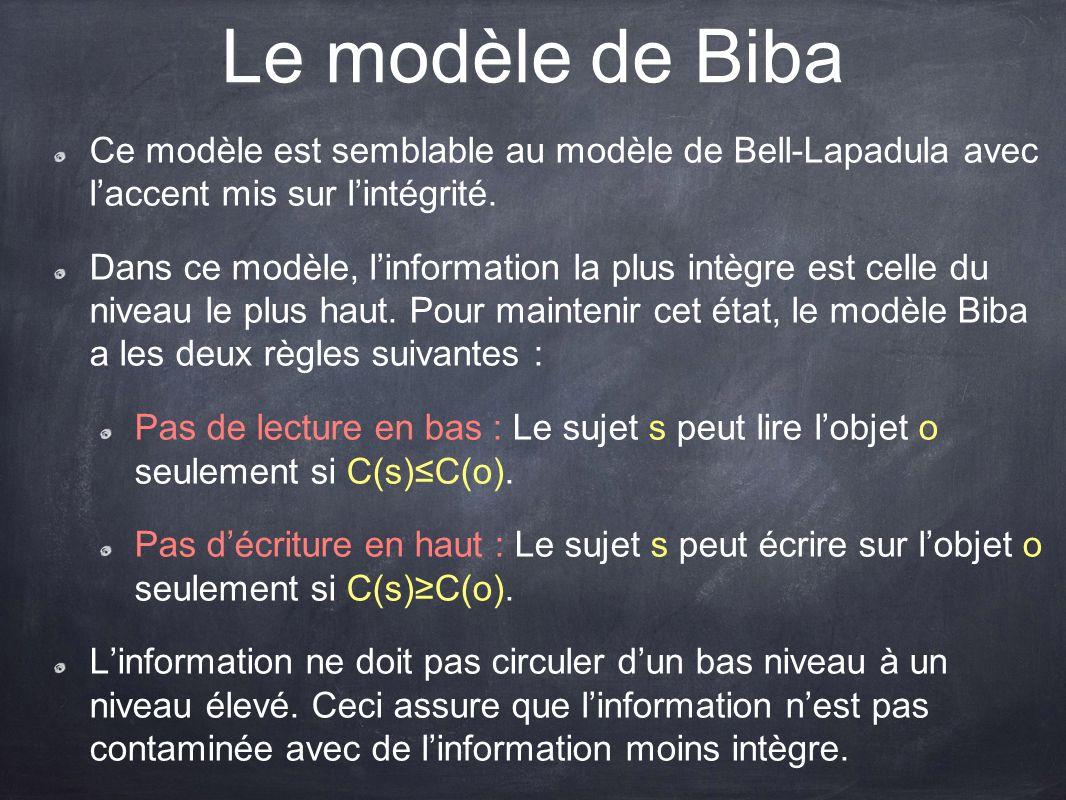 Le modèle de Biba Ce modèle est semblable au modèle de Bell-Lapadula avec laccent mis sur lintégrité. Dans ce modèle, linformation la plus intègre est