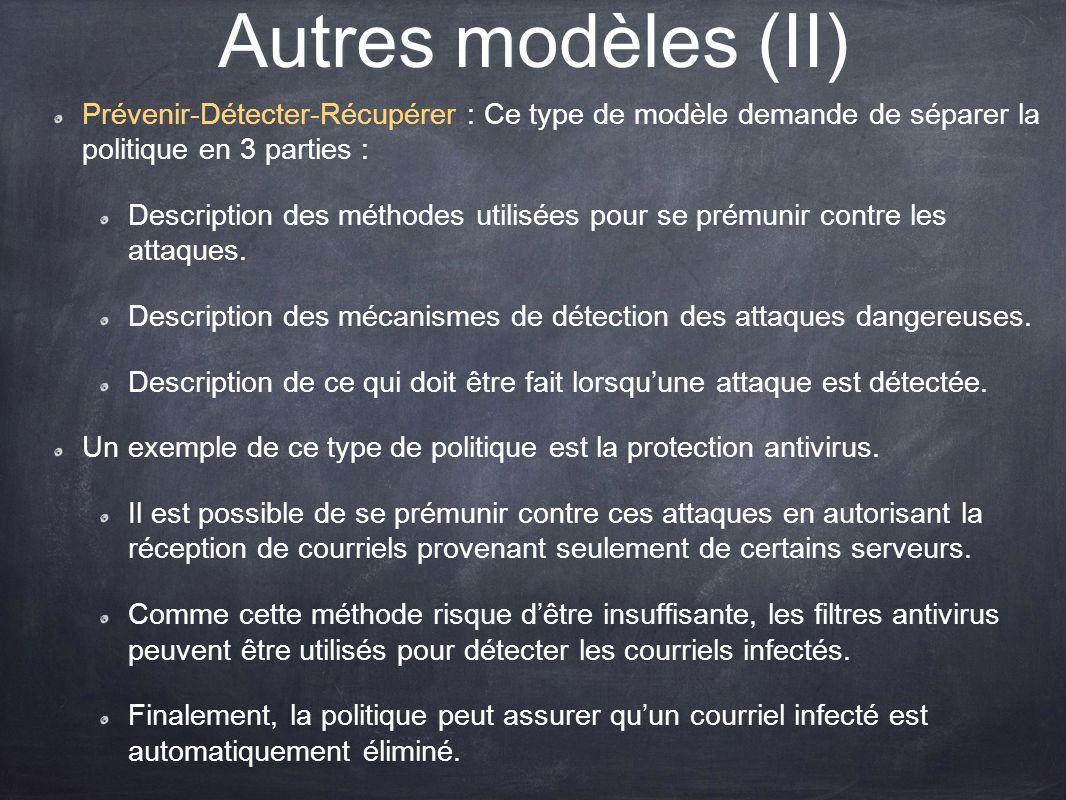 Autres modèles (II) Prévenir-Détecter-Récupérer : Ce type de modèle demande de séparer la politique en 3 parties : Description des méthodes utilisées