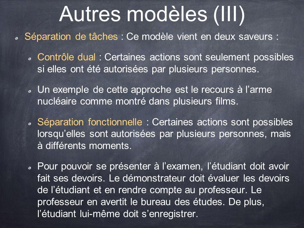 Autres modèles (III) Séparation de tâches : Ce modèle vient en deux saveurs : Contrôle dual : Certaines actions sont seulement possibles si elles ont