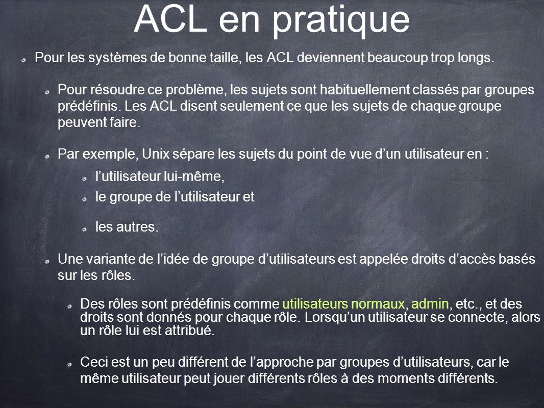 ACL en pratique Pour les systèmes de bonne taille, les ACL deviennent beaucoup trop longs. Pour résoudre ce problème, les sujets sont habituellement c