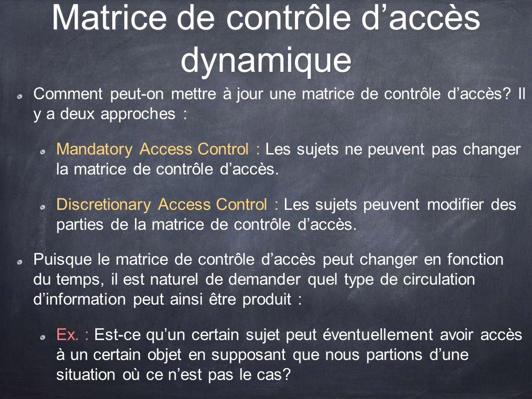 Matrice de contrôle daccès dynamique Comment peut-on mettre à jour une matrice de contrôle daccès? Il y a deux approches : Mandatory Access Control :